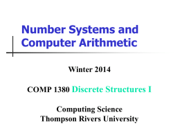 Number systems and computer arithmetic