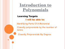 classifying polynomials by number of terms
