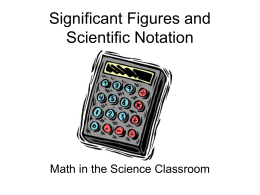 Significant Figures and Scientific Notation