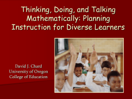 David J.Chard: Thinking, Doing & Talking Mathematically