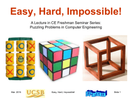 Frosh Seminar, Easy Hard - Electrical and Computer Engineering