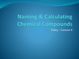 Calculating & Naming Compounds