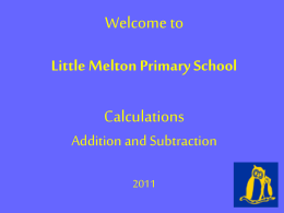 Addition – Mid stages - Little Melton Primary School
