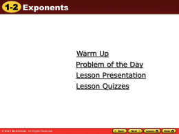 1.2 Exponents - Lake County Schools