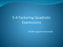 5.4 Factoring Quadratic Equations