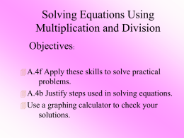 3-1 Solving Equations Using Addition and Subtraction
