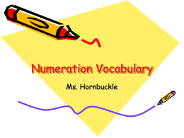 Numeration Vocabulary