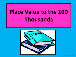 Place Value to the Hundred Thousands