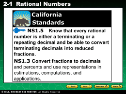Ch 2-1 Rational Numbers - San Elijo Middle School