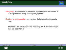 3.1 - Inequalities and Their Graphs