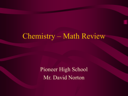 Chemistry – Math Review