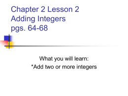 Chapter 2 Lesson 2 Adding Integers pgs. 64-68