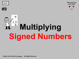 4. Multiplying Signed Numbers