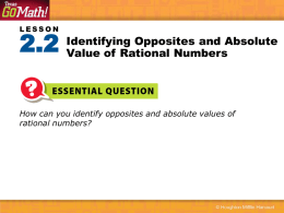 How can you identify opposites and absolute values of rational