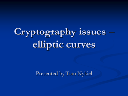 Cryptography issues – elliptic curves