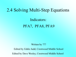 Lesson 2.4 Solving Multiple Equations