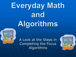 Everyday Math and Algorithms