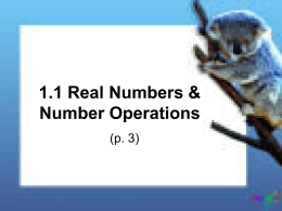 1.1 Real Numbers & Number Operations