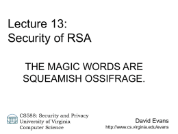 Lecture 13 - University of Virginia, Department of Computer Science