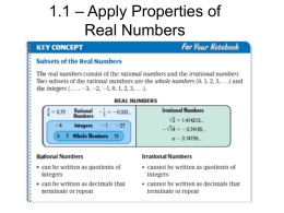 1.1 – Apply Properties of Real Numbers