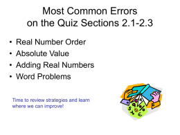 Most Common Errors on the Quiz Sections 2.1-2.3