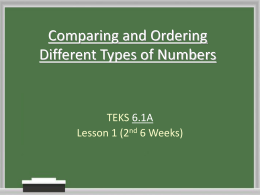 Comparing and Ordering Different Types of Numbers