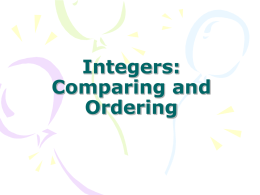 Integers Comparing and Ordering