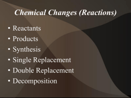 + + Chemical Reactions