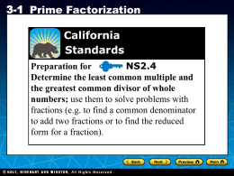 prime factorization - Jefferson School District