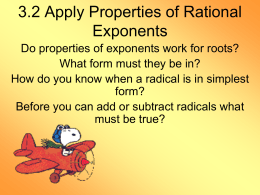 3.2 Apply Properties of Rational Exponents