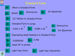 Scientific Notaion Standard Form