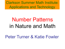 Number Patterns in Nature and Games