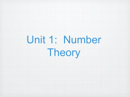 Unit 1: Number Theory