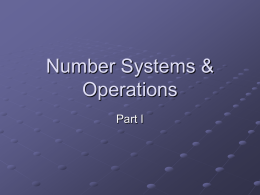 Number Systems, Operations, and Codes
