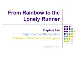 From Rainbow to the Lonely Runner