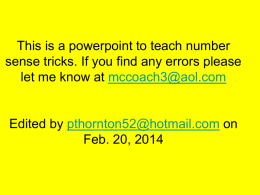 Mr. Thornton`s Powerpoint full of Number Sense Tricks!