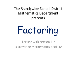 Factoring - Brandywine School District