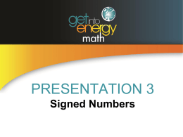 PowerPoint Presentation 3: Signed Numbers