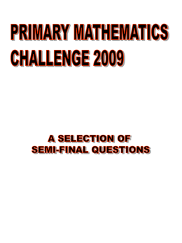 KS2 Maths Challenge semifinalquestions2009