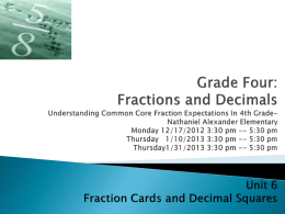 Fraction Cards and Decimal Squares