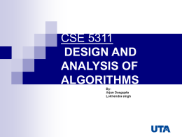 cse 5311- design and analysis of algorithms