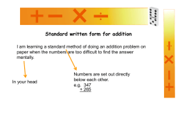 Standard written form for addition