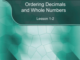 Comparing and Ordering Decimals and Whole Numbers