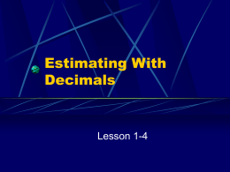 Estimating With Decimals