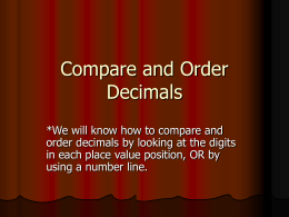 Compare and Order Decimals