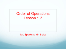 Order of Operations Lesson 1.3