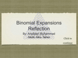 Math reflection on Binomial Expansions