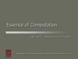 Essence of Computation - Department of Computer and Information