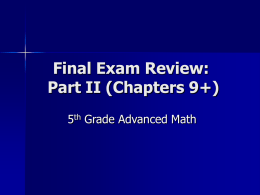 Final Exam II, PPT Review