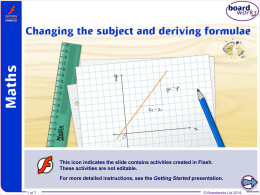 A8 Changing the subject and deriving formulae